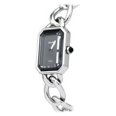 Chanel Ladies Stainless Steel Silver Black Chain Quartz Wristwatch