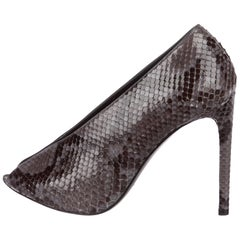Balenciaga NEW Black Gray Snakeskin Slide in Evening Ankle Booties Heels in Box