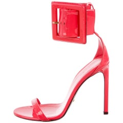 GUCCI NEW Patent Leather Ankle Buckle Evening Sandals Heels