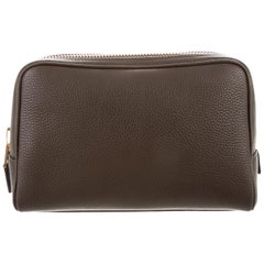 Tom Ford NEW Men's Women's Vanity Cosmetic Taupe Leather Toiletry Travel Bag