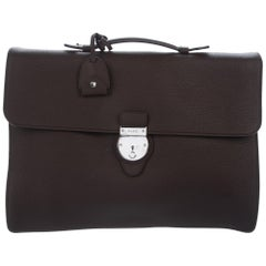 Gucci NEW Leather Silver Men's Top Handle Satchel Business Travel Briefcase Bag