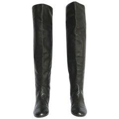 GIUSEPPE ZANOTTI Thigh Boots in Black Leather Size 38.5 FR