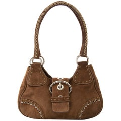 Prada Shoulder Bag Brown Daim