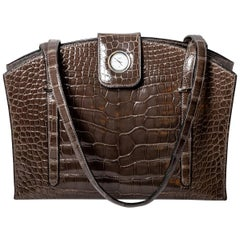 Hermes Lyn Alligator Handbag with Palladium Hardware