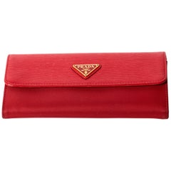 Prada Nylon and Leather Red Snap Long Wallet with Box