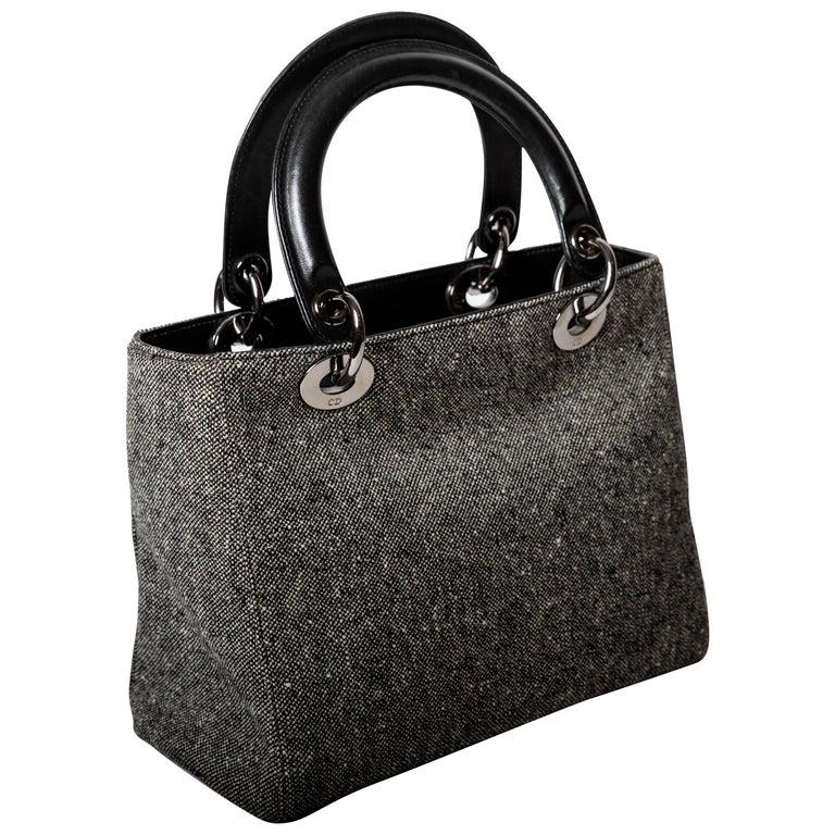 Christian Dior Lady Dior Wool Handbag with Detachable Shoulder Strap & Dust Bag