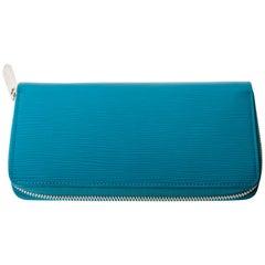 Louis Vuitton Cyan Leather Epi  Zippy Organizer Wallet