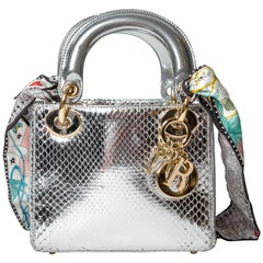 Christian Dior Silver Python Mini Lady Dior handbag with Silk Scarf