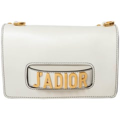 Christian Dior White Leather J'ADIOR Shoulder Bag with Gold Hardware