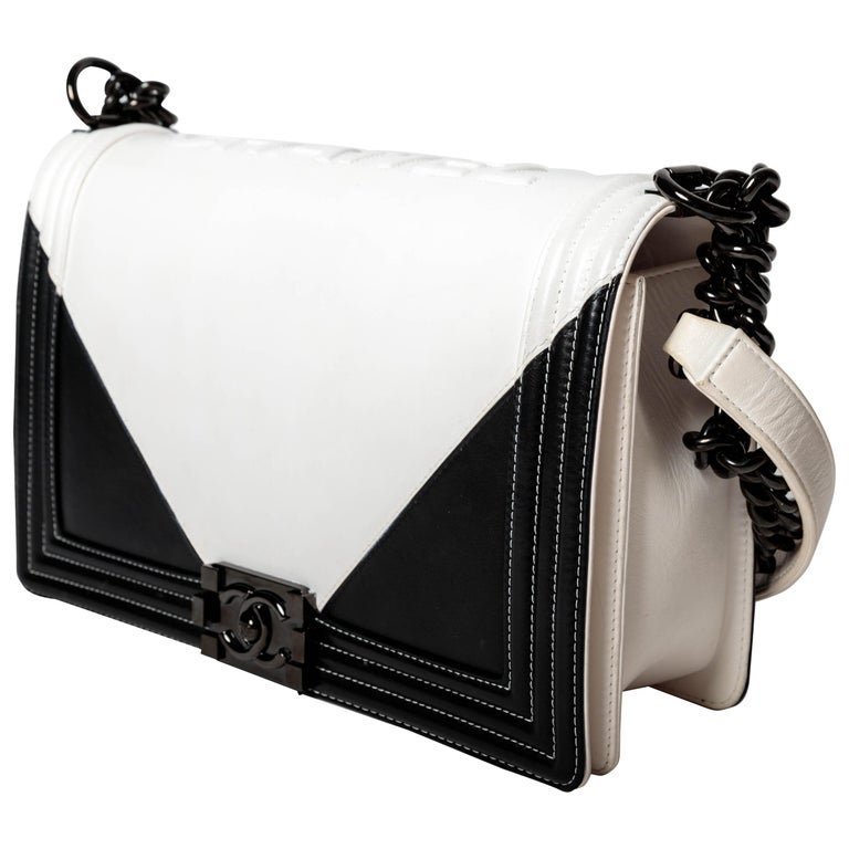 Chanel Boy Bag in Black and White with Shiny Black Hardware