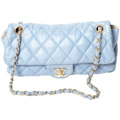 Chanel Powder Blue Single Flap with Gold Hardware - 2005 - 2006 Collection