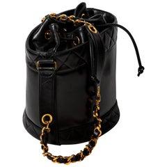 Chanel Black Lambskin Bucket Bag with Gold Hardware