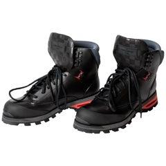 Louis Vuitton Mens Calfskin Damier Blizzard Ankle Boots in Black - Size 8.5