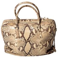 Prada Python Bag with Detachable Shoulder Strap and Silver Hardware