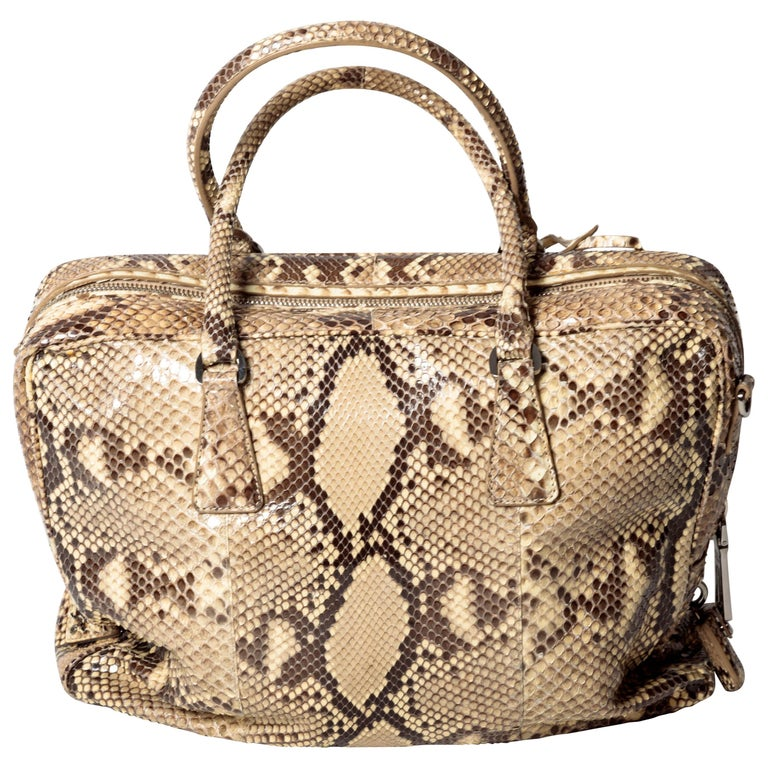 Prada Python Bag with Detachable Shoulder Strap and Silver Hardware