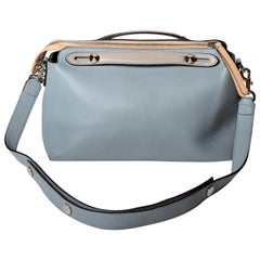 Fendi Top Handle Ice Blue Leather Bag with Detachable Shoulder Strap