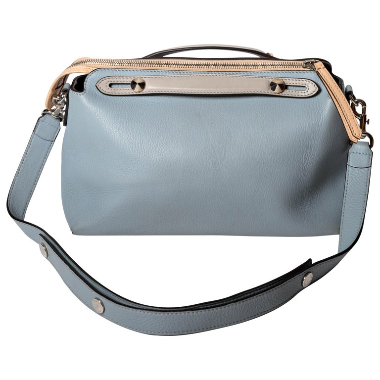 Fendi Top Handle Ice Blue Leather Bag with Detachable Shoulder Strap