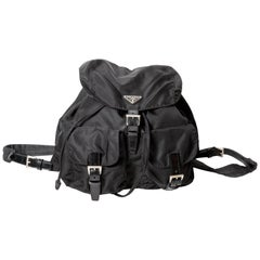 Prada Nylon Backpack with Leather Trim and Silver Buckles