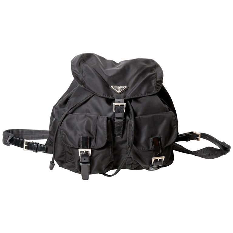 5269b98352ba Prada Nylon Backpack with Leather Trim and Silver Buckles