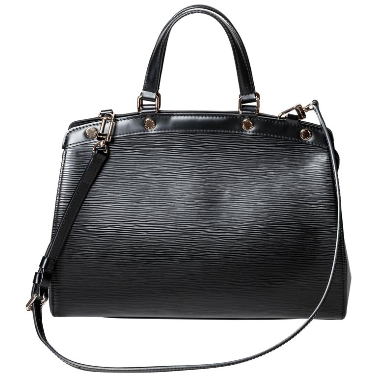 Louis Vuitton Black Epi Bag with Top Handle and Shoulder Strap