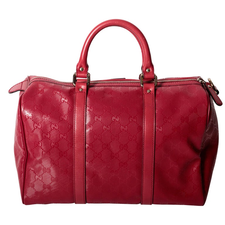 Gucci Raspberry Monogram Top Handle Bowler Bag with Silver Hardware