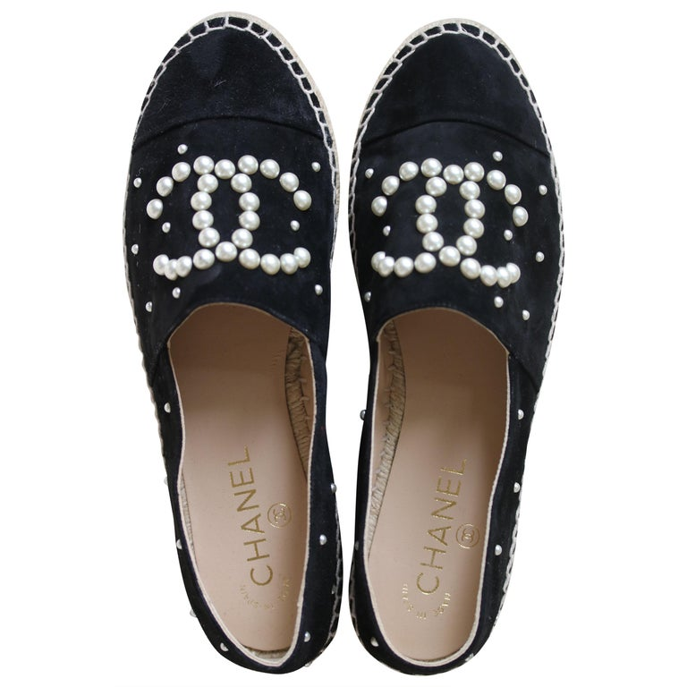 b3a2ab57b Chanel Black Suede Calfskin and Pearl Espadrilles at 1stdibs