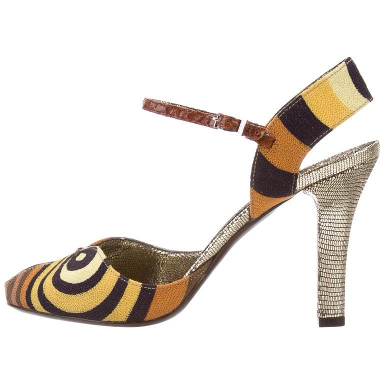 Fendi New Multi Color Bug Mary Jane Pumps Evening Sandals Heels