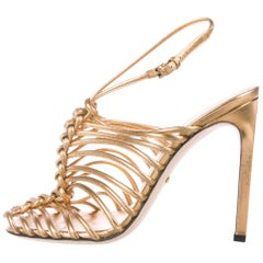 Gucci New Gold Cut Out Leather Evening Sandals Heels