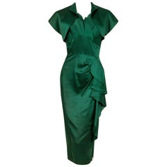 1940's Forest Green Silk Flames Sculpted Swag Rhinestone Cocktail Dress & Bolero
