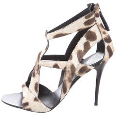 Giuseppe Zanotti New Ivory Brown Cow Print Evening Sandals Heels