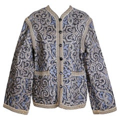 Yves Saint Laurent YSL Quilted Jacket with Knit Trims and Graphic Paisley Print