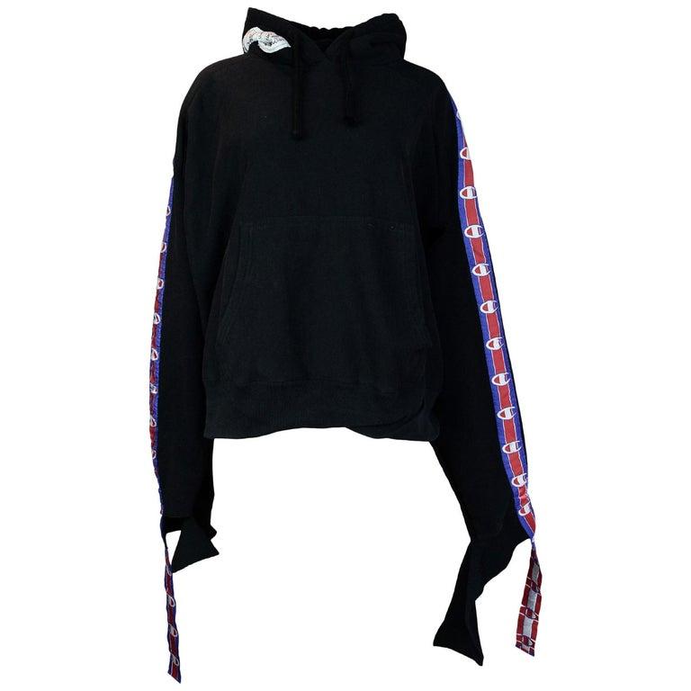 Vetements X Champion Black In Progress Distressed Hoodie Sweatshirt, 2017