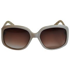 Oscar de la Renta Cream with Multi-Pearl Interior Lucite Sunglasses