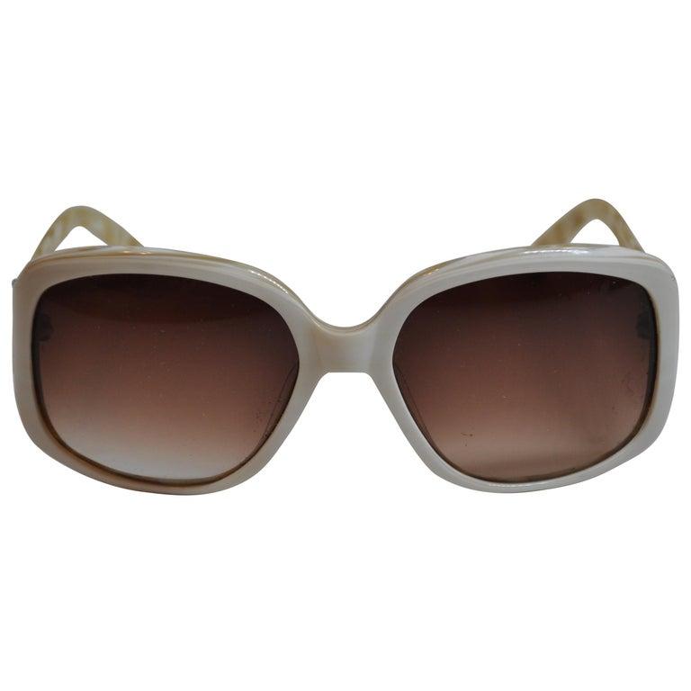 1fb52d0335 Oscar de la Renta Cream with Multi-Pearl Interior Lucite Sunglasses For Sale