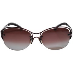 Jean Paul Gaultier Gilded Melot-Wine Hardware with Signature Logo Sunglasses
