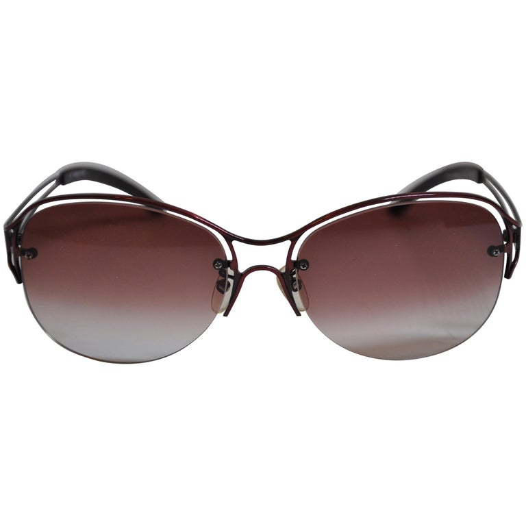 Jean Paul Gaultier Gilded Melot-Wine Hardware with Signature Logo Sunglasses For Sale