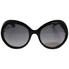 Bottega Veneta Signature Detailed Large Black Lucite Sunglasses