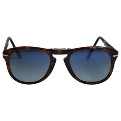 Persol Signature Detailed Tortoise Shell With Gold Hardware Folding Sunglasses