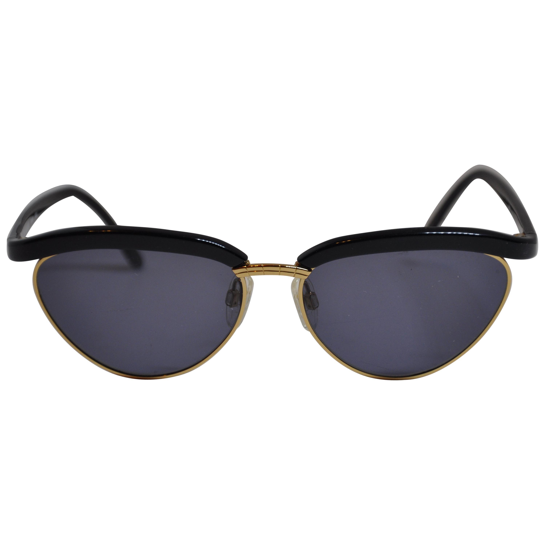"Yves Saint Laurent Black Lucite with Gilded Gold Hardware ""Swirl"" Sunglasses"