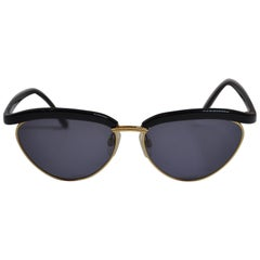 "Yves Saint Laurent Black Lucite with Gilded Gold Hardware ""Swirl"" Sunglasses"