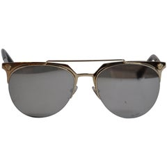 Gianni Versace Signature Polished Gilded Gold Hardware Sunglasses
