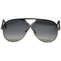 Balenciaga Black Lucite Sunglasses with Gilded Gold Hardware and Black Lambskin