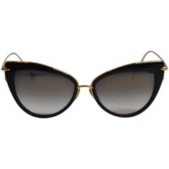 Dita Black Lucite and Polished Gilded Gold Hardware Sunglasses
