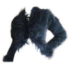 Yves Saint Laurent Rive Gauche 1970's Black Fuzzy Feather Trim Cardigan  Jacket