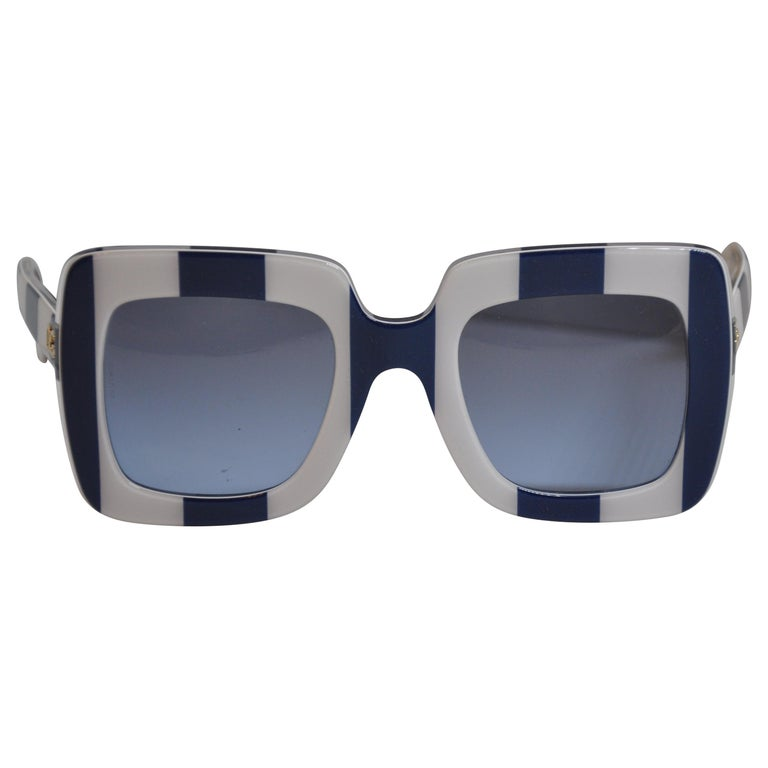 Dolce & Gabbana Bold Navy and Cream Mod Runway Sunglasses