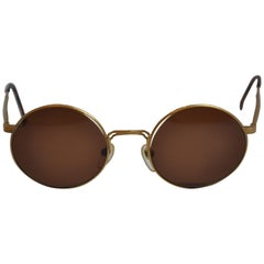 Masuda Signature Detailed Etched Gilded Gold Hardware Sunglasses