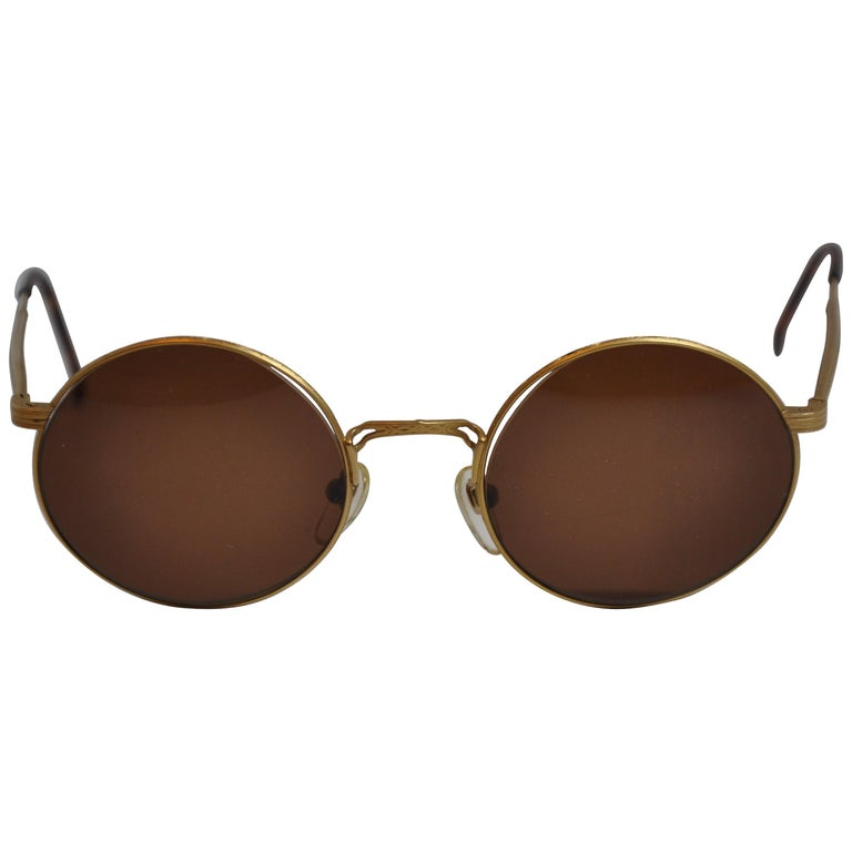 a6f0aa09bc85 Masuda Signature Detailed Etched Gilded Gold Hardware Sunglasses For Sale