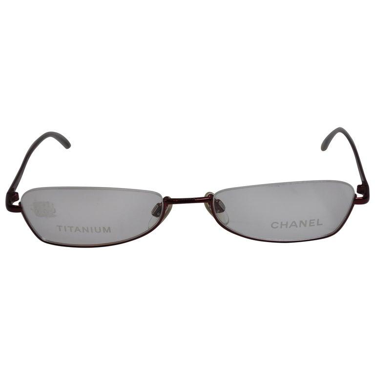 Chanel Titanium Iridescent Royal-Red Half-Frame Reading Glasses For Sale