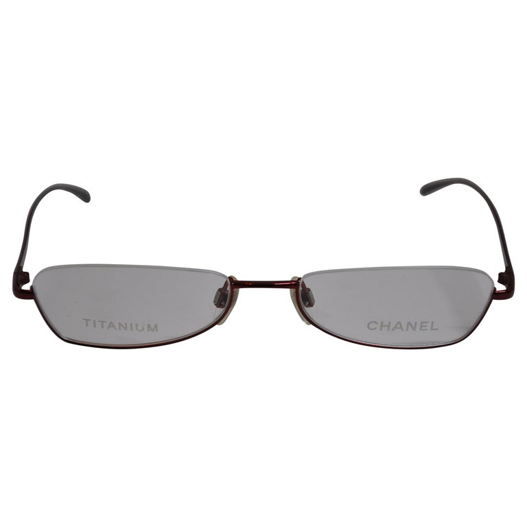 dab16110f0 Chanel Titanium Iridescent Cranberry Weightless Half-Frame Reading Glasses  For Sale at 1stdibs