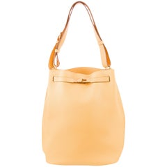 Hermes Mustard Yellow Leather Large Carryall Travel Tote Shoulder Bag